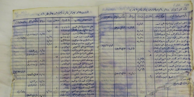 An Islamic State logbook found in a training facility in eastern Mosul.