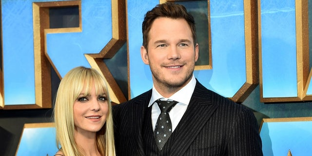 "Chris Pratt, right, poses with then-wife Anna Faris at the premiere of ""Guardians of the Galaxy, Vol. 2"" in London on April 24, 2017."