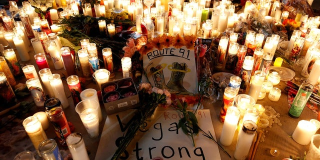A candlelight vigil is pictured on the Las Vegas Strip following a mass shooting at the Route 91 Harvest Country Music Festival, Oct. 2, 2017.