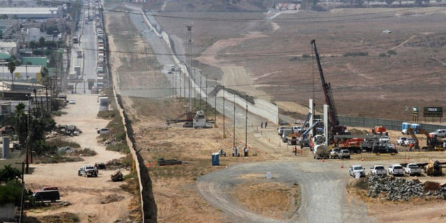 The construction site of prototypes for President Trump's border wall with Mexico.
