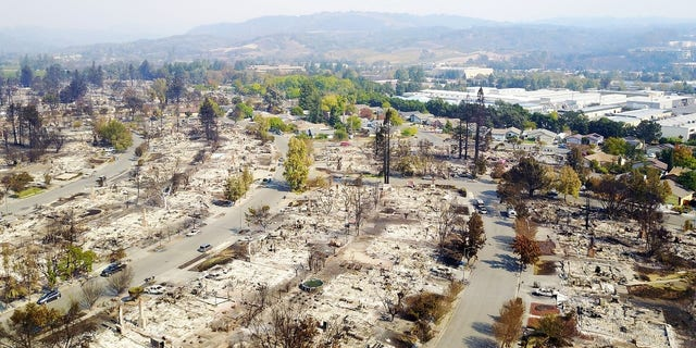 An aerial image taken from a drone shows the destruction caused by the fires in Santa Rosa