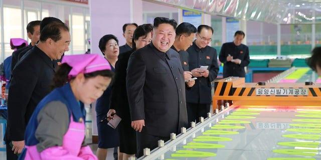 "Kim Jong-Un visits Ryuwon Footwear Factory. Kim called President Trump a ""rabid man"" in a recent statement."