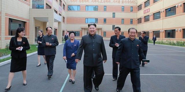"Kim Jong-Un visit Ryuwon Footwear Factory. Kim's been nicknamed ""little rocket man"" by President Trump."