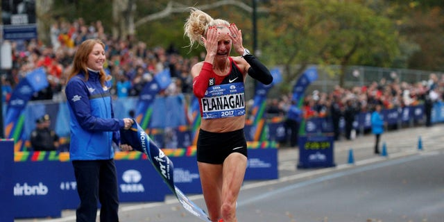 Athletics - New York City Marathon - New York, U.S. - November 5, 2017 - Shalane Flanagan wins the women's race.