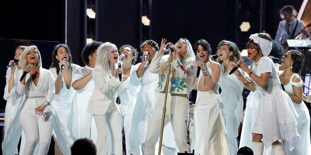 "Kesha and the performers also wore white in support of the ""Me Too"" movement."