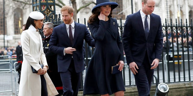 Meghan Markle and Prince Harry walked behind Prince William and Kate Middleton into the event.