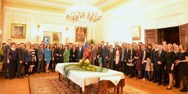 Staff at Russia's Embassy attend a reception hosted by ambassador Alexander Yakovenko for the 23 diplomats who are being expelled by Britain's government after former Russian intelligence officer Sergei Skripal and his daughter Yulia were poisoned with a nerve agent in Salisbury.