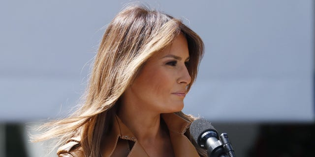 """First lady Melania Trump announces the launch of her """"Be Best"""" initiative in the Rose Garden at the White House in Washington, May 7, 2018."""