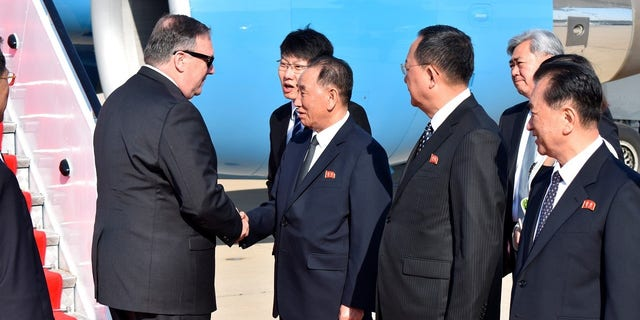 Secretary of State Mike Pompeo meets former North Korean military intelligence official Kim Yong Chol.