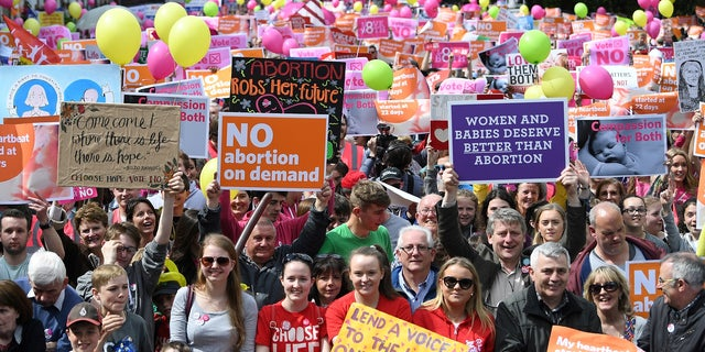 Demonstrators take part in a pro-life rally ahead of Ireland's vote.