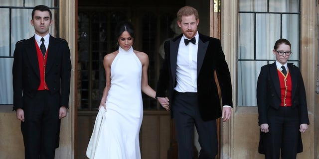 Meghan Markle and Prince Harry heading to the evening reception.