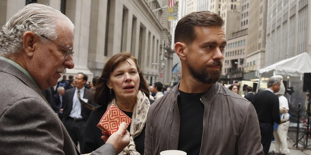 File photo: Jack Dorsey, CEO of Square and CEO of Twitter, stands with his parents Marcia and Tim Dorsey while waiting for an event outside of the New York Stock Exchange to celebrate the IPO of Square Inc., in New York November 19, 2015.