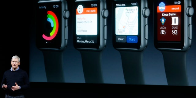 Apple CEO Tim Cook speaks about the Apple Watch during an event at the Apple headquarters in Cupertino, California March 21, 2016.