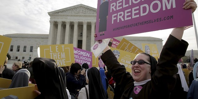 A rally outside of the Supreme Court in 2016 as Christian groups argued for full exemption from the ObamaCare requirement to provide insurance covering contraception.
