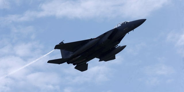 An U.S Air Force F-15 Eagle fighter flies during a certification of the arresting gear last May. The same type of fighter jet shot down an Iranian drone on Tuesday in southern Syria. (Reuters)