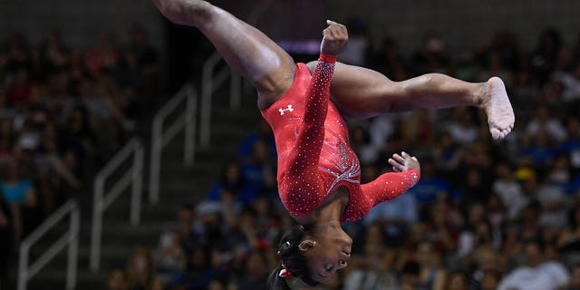 Simone Biles at U.S. Olympic trials in San Jose Sunday.