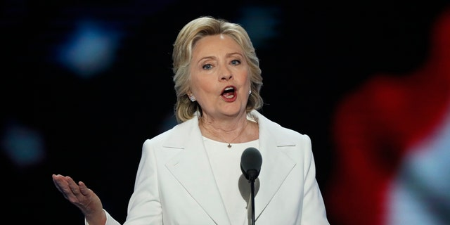 Hillary Clinton delivers her acceptance speech at the DNC.