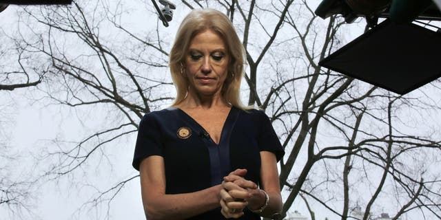 FILE -- Counselor to U.S. President Donald Trump, Kellyanne Conway prepares to go on the air in front of the White House in Washington, U.S., January 22, 2017. REUTERS/Carlos Barria