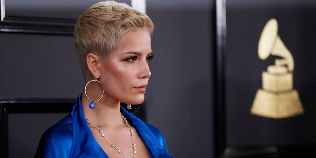 Halsey pictured at the 59th Annual Grammy Awards in Los Angeles. She is now slamming the Recording Academy's nomination process, saying it isn't based on 'quality.'