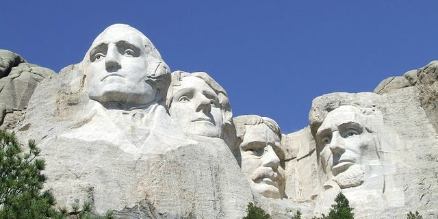 Presidents George Washington, Thomas Jefferson, Theodore Roosevelt and Abraham Lincoln are sculpted on Mount Rushmore National Memorial in the Black Hills region of South Dakota, U.S.