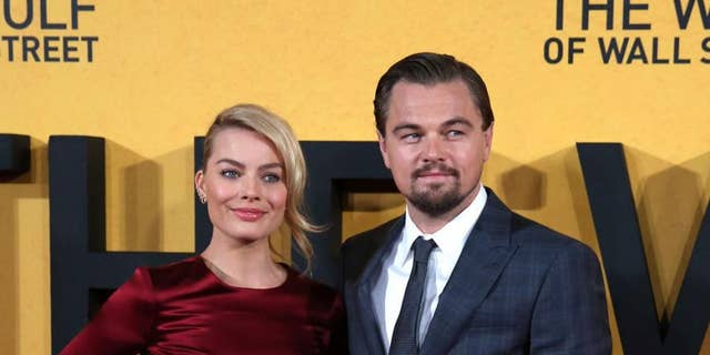 """Margot Robbie and Leo DiCaprio at the UK premiere of """"The Wolf of Wall Street"""" in London."""