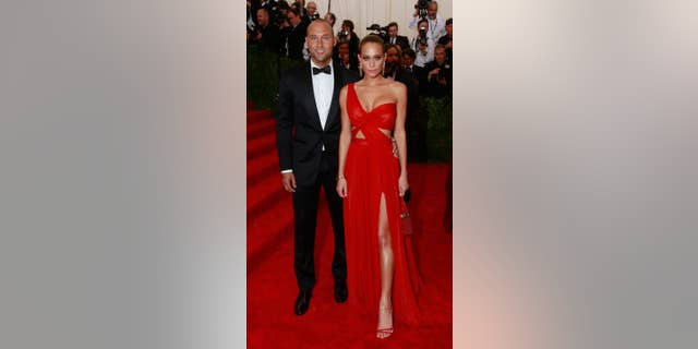 Retired New York Yankees baseball great Derek Jeter and then-girlfriend Hannah Davis at the Met Gala.