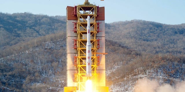 A North Korean long-range rocket is launched at the Sohae rocket launch site in Februrary 2016.