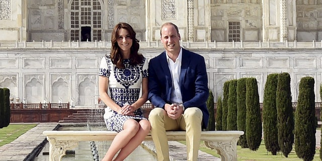 "Catherine, Duchess of Cambridge demonstrates what Beaumont Etiquette calls the ""Duchess Slant"" in front of India's Taj Mahal."