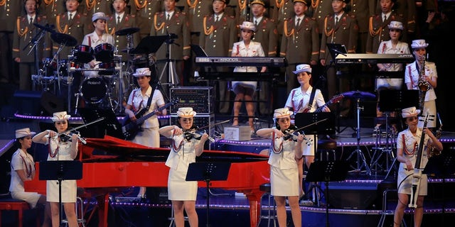 The Moranbong Band, an all-girl group formed by Kim Jong Un, performs.