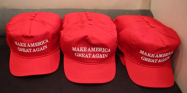 """Republican presidential nominee Donald Trump """"Make America Great Again"""" hats are pictured during a meeting with Trump's Hispanic Advisory Council at Trump Tower in the Manhattan borough of New York, U.S., August 20, 2016.   REUTERS/Carlo Allegri - S1BETWOLUOAB"""
