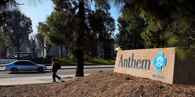 A sign at the office building of health insurer Anthem is seen in Los Angeles, California.