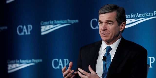 North Carolina Gov. Roy Cooper delivers a speech in Washington, May 16, 2017.