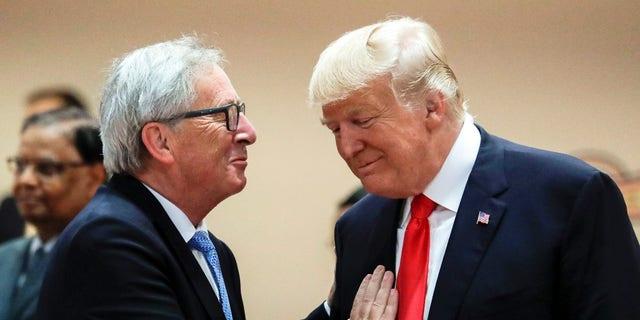 Jean-Claude Juncker, left, is due to meet with President Trump Wednesday.