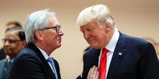 Jean-Claude Juncker, left, is due to meet with President Trump Wednesday.