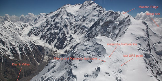 Image shows the area where Alberto Zerain and Mariano Galvan's last tracks were believed to have been seen while climbing Nanga Parbat, Pakistan July 1, 2017.