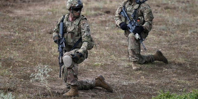 """U.S. army soldiers take part in """"Peace Sentinel 2017,"""" a joint military drill together with Serbian and Bulgarian soldiers, at Koren military training ground, Bulgaria, July 15, 2017."""