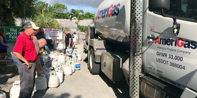In preparation of Hurricane Irma, residents of Boca Raton line up for propane in Boca Raton, Florida, U.S., September 6, 2017.