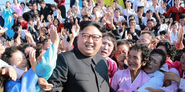 """Kim Jong Un meets supporters in Pyongyang. The dictator was hailed as """"the great successor"""" when he came into power in 2011."""
