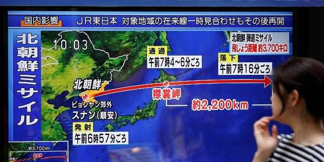 An illustration shows the distance between North Korea and Japan after its latest missile launch in September.