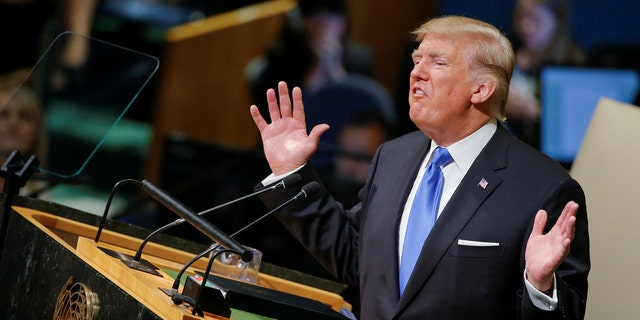U.S. President Donald Trump addresses the 72nd United Nations General Assembly at U.N. headquarters in New York, U.S., September 19, 2017. REUTERS/Eduardo Munoz - RC16E7B73670