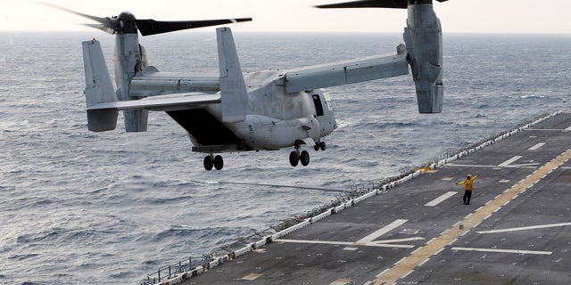 Pictured here, a MV-22 Osprey takes off on its way to deliver aide to Puerto Rico and Saint Croix. Three U.S. Marines were declared dead in August 2017 after their MV-22 Osprey crashed off the coast of Australia.