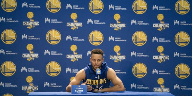 September 22, 2017; Oakland, CA, USA; Golden State Warriors guard Stephen Curry (30) during media day at Rakuten Performance Center.