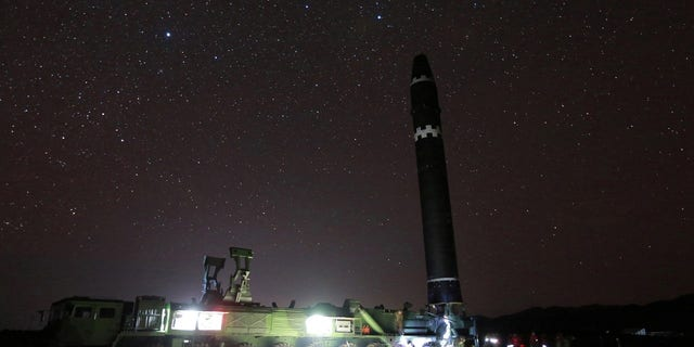 The ICBM was pictured at night with stars glimmering in the sky.