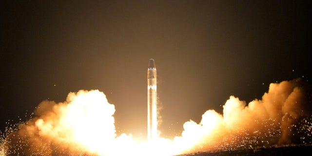 The photo shows the beginning of the rocket launch around 3 a.m. North Korea time.