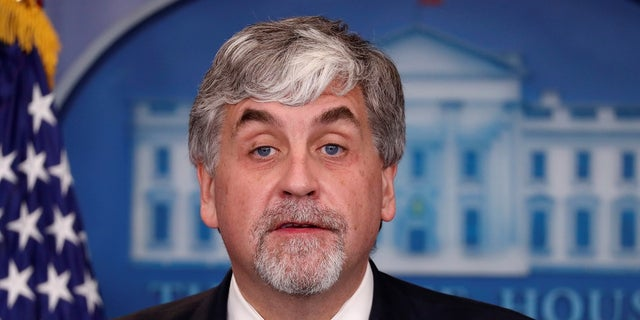 In this November 30, 2017 photo, Eric Hargan, thhe U.S. acting Secretary of Health and Human Services (HSS), addresses reporters during a news briefing at the White House.