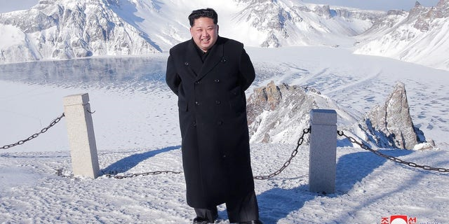 "Kim visits Mount Paektu, dubbed the ""sublime mountain of revolution,"" in December."