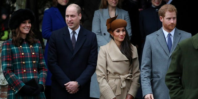 The royal family on Christmas morning in Sandringham, England.