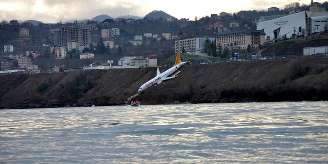 Panic broke out in the plane when the plane careened off the runway.
