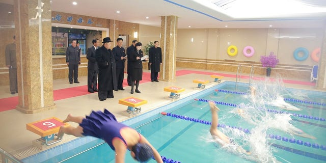 Kim Jong Un at the newly-remodeled Pyongyang Teacher Training College.