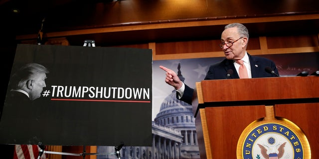 President Trump and Sen. Chuck Schumer blamed each other for the three-day government shutdown in 2018.